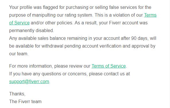 记一次失败的测试:推广fiverr被封号